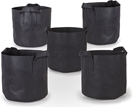Black 10-Pack 5 Gallon Grow Bags for Potato//Plant Container//Aeration Fabric Pots with Handles