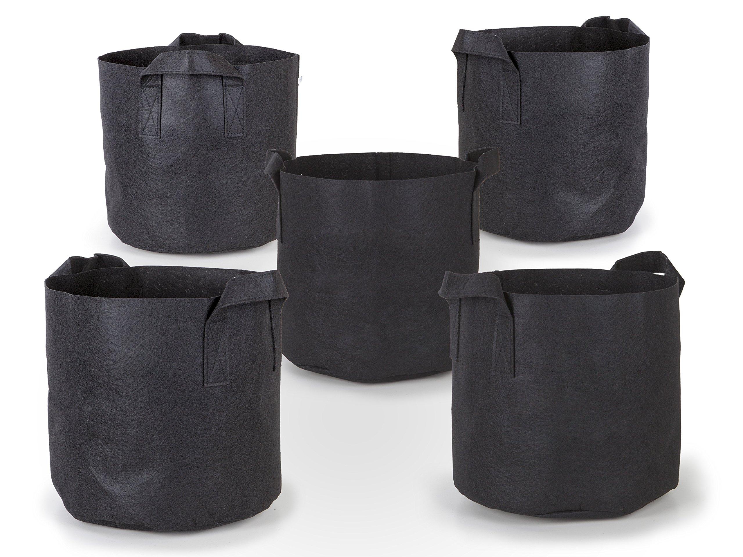 247Garden 5-Pack 10 Gallon Grow Bags/Aeration Fabric Pots w/Handles (Black)