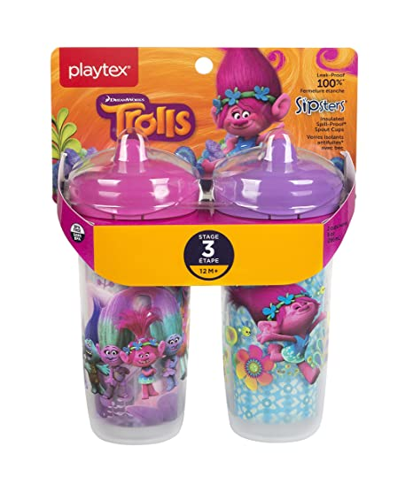 12+ Months Playtex Baby Sipsters Spill-Proof Trolls Toddler Spout Cup Pack of 2 Stage 3