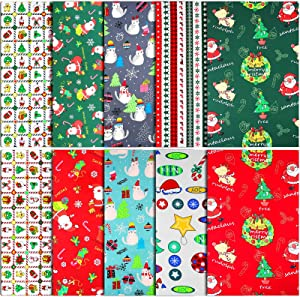 10PiecesChristmas Cotton Fabric Bundles,18x22Inch Sewing Patchwork Precut Fabric,Multi-ColorChristmas Tree Fat Quarters Precut Santa Claus FabricbundlesforChristmas Home PartyDIYSewing