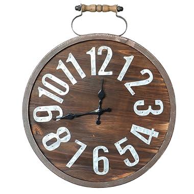 "Barnyard Designs Wood Wall Clock, Rustic Unfinished Distressed Wood Decorative Clock Home Decor 18.25"" x 15"""