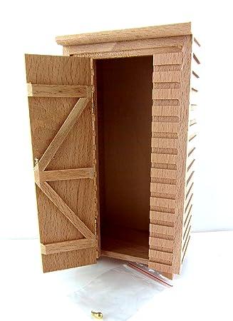 Amazon.es: Miniatura Para Casa De Muñecas 1:12 Sin Terminar MADERA NATURAL PEQUEÑO Cobertizo de jardín LETRINA: Juguetes y juegos