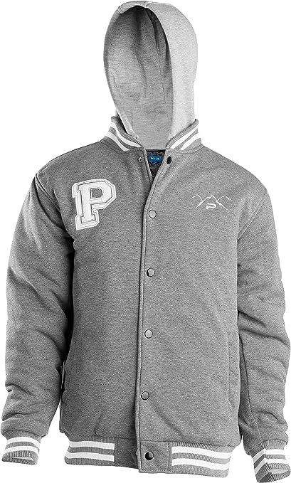 The Polar Club Boys Fleece Varsity Baseball Jacket with Removable Hood