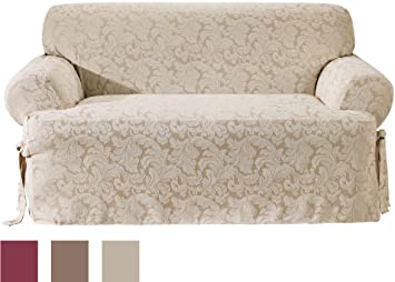 Sure Fit Scroll T Cushion   Sofa Slipcover   Champagne (SF28788)
