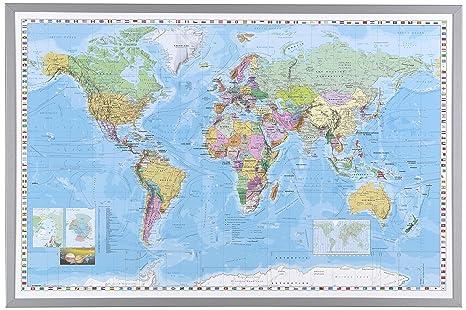 Amazon naga 16200 framed world map office products naga 16200 framed world map gumiabroncs Choice Image