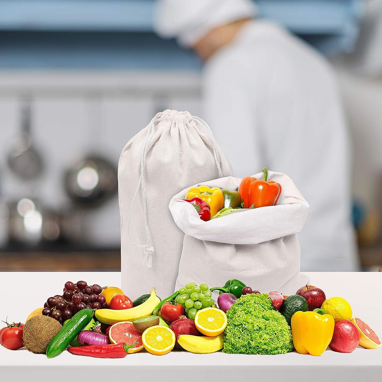 Sac de Rangement avec Cordon - Sacs de Course R/éutilisable Ecologiques Biod/égradables Sac Fruits et L/égumes R/éutilisable Lot de 10 Sacs en Tissu Coton Bio 30cm X 20cm BELLE VOUS Sac Coton