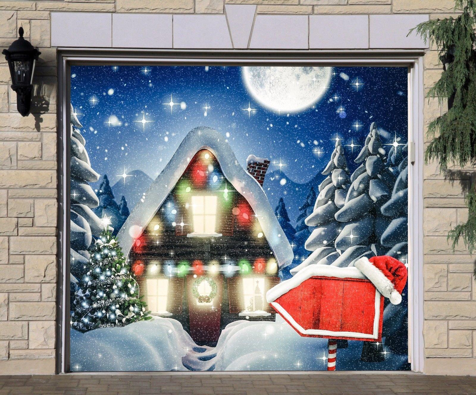 Christmas House Single Garage Door Covers Billboard Full Color 3D Effect Print Door Decor Decorations of House Garage Holiday Mural Banner Garage Door Banner Size 83 x 96 inches DAV117
