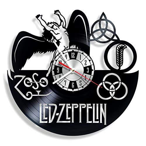 NiceIdeas4Home LED Zeppelin Wall Clock Made from Vintage Vinyl Record Wonderful Handmade Gift for Your Loved one