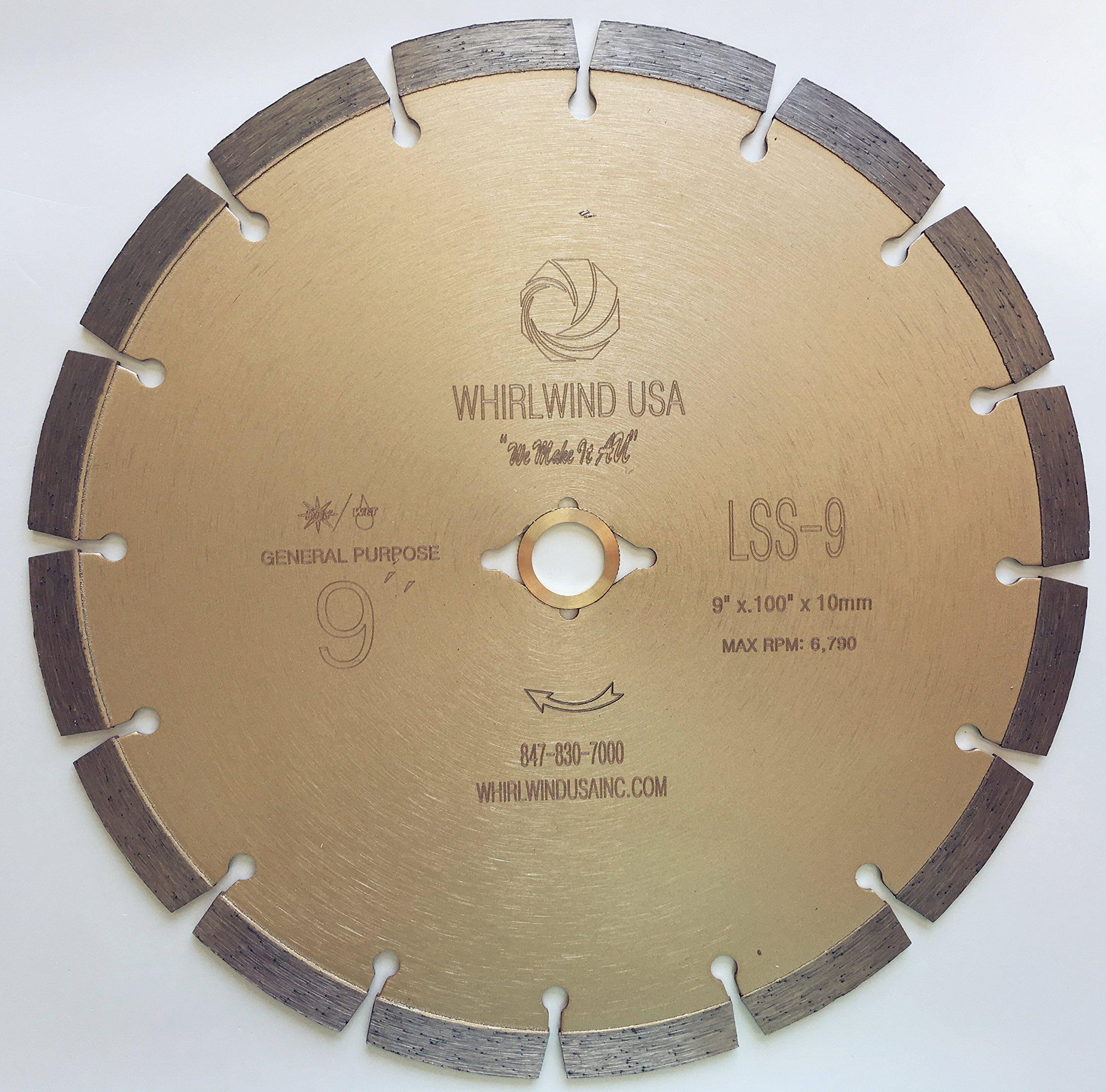 Whirlwind USA LSS 9 inch Dry or Wet Cutting General Purpose Power Saw Segmented Diamond Blades for Masonry Brick/Block Pavers Concrete Stone (9'')