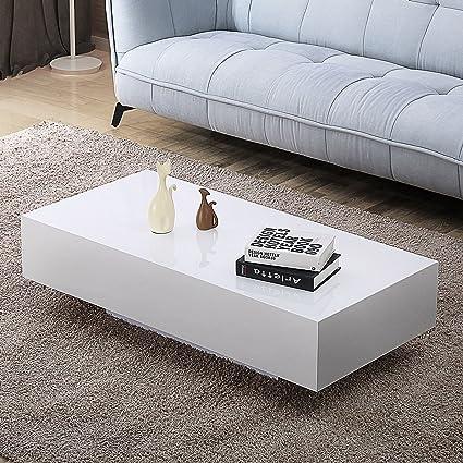 Amazon Com 45 Modern High Gloss White Coffee Table End Side Table