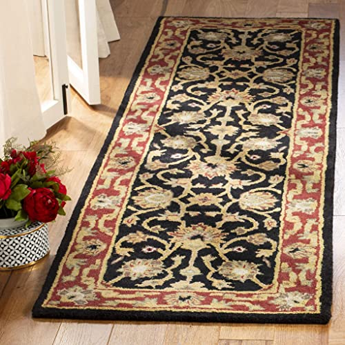 Safavieh Heritage Collection HG112A Handcrafted Traditional Oriental Black and Red Wool Area Rug 2 x 3