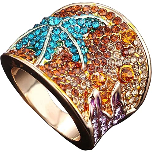 bc3e5f1808 Claire Jin Big Starfish Rings for Women 18K Gold Plated Fully Inlaid  Rhinestone Jewelry