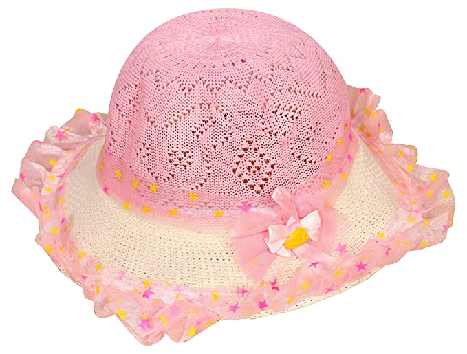 BABY STATION Baby Bonnet Round Summer Cap Hat (Pink)  Amazon.in ... 1158a23ab61
