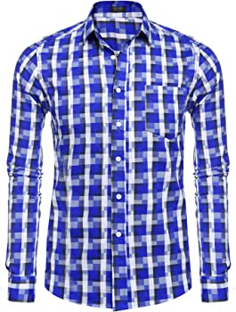 COOFANDY Casual Long Sleeve Flannel Plaid Shirt Slim Fit Button Down Shrits