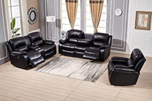 Betsy Furniture Power Reclining Bonded Leather Living Room Set (Black, Sofa+Loveseat+Chair)