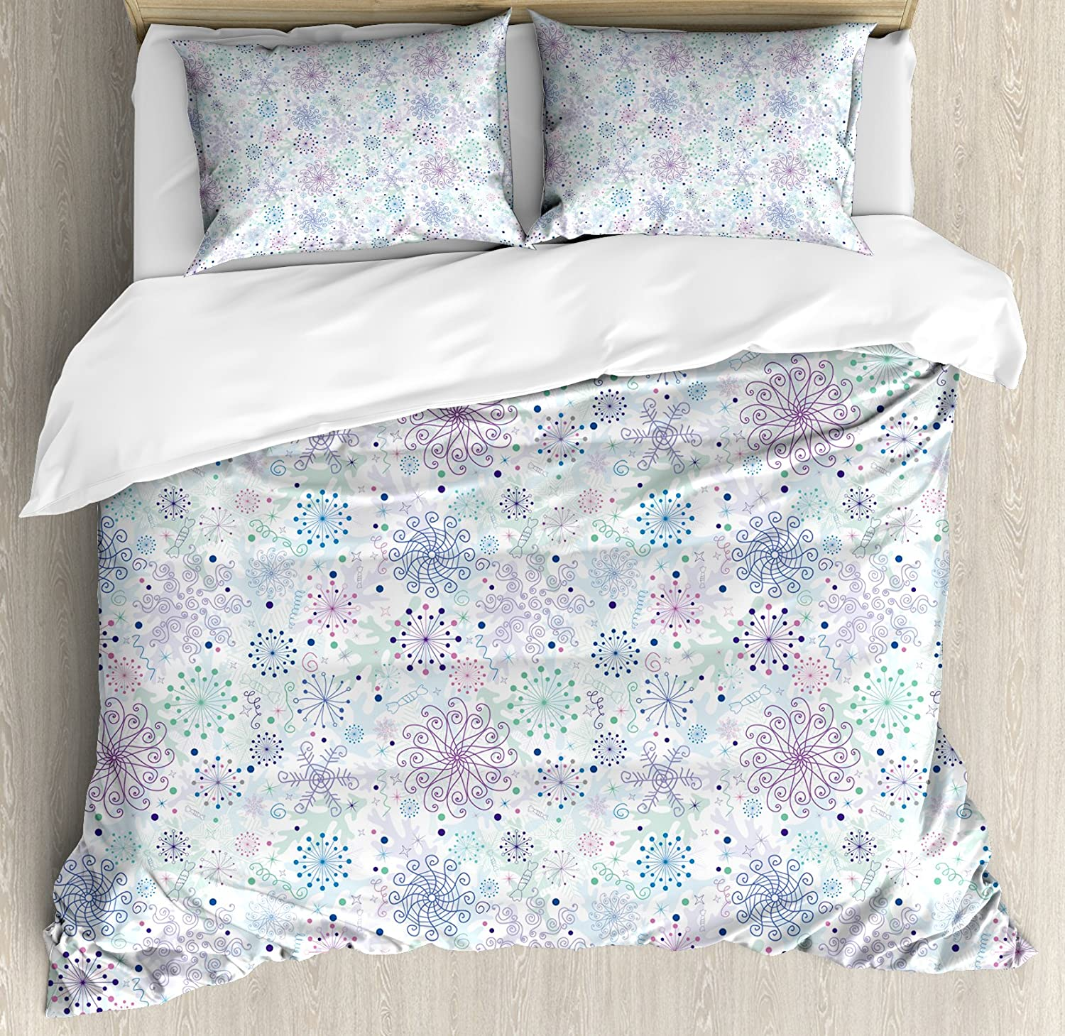 nev/_44945/_queen Pattern with Ornate Snowflake Motifs and Dots Retro Christmas Inspired Repetitive Ambesonne Winter Duvet Cover Set Queen Size Decorative 3 Piece Bedding Set with 2 Pillow Shams