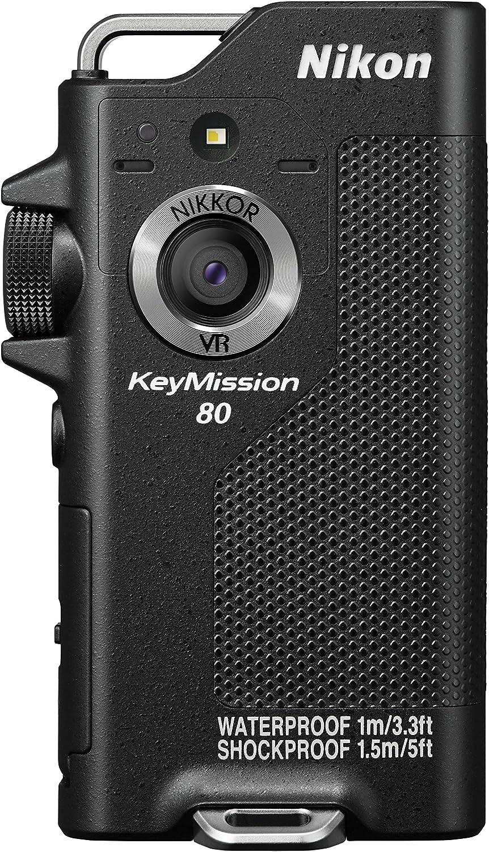 Nikon KeyMission 80 - Cámara de 12.4 MP (Resistencia al Agua, Polvo y a los Impactos, comunicaciones Bluetooth, Wi-Fi, NFC), Negro - con un Objetivo Nikkor de 15 mm
