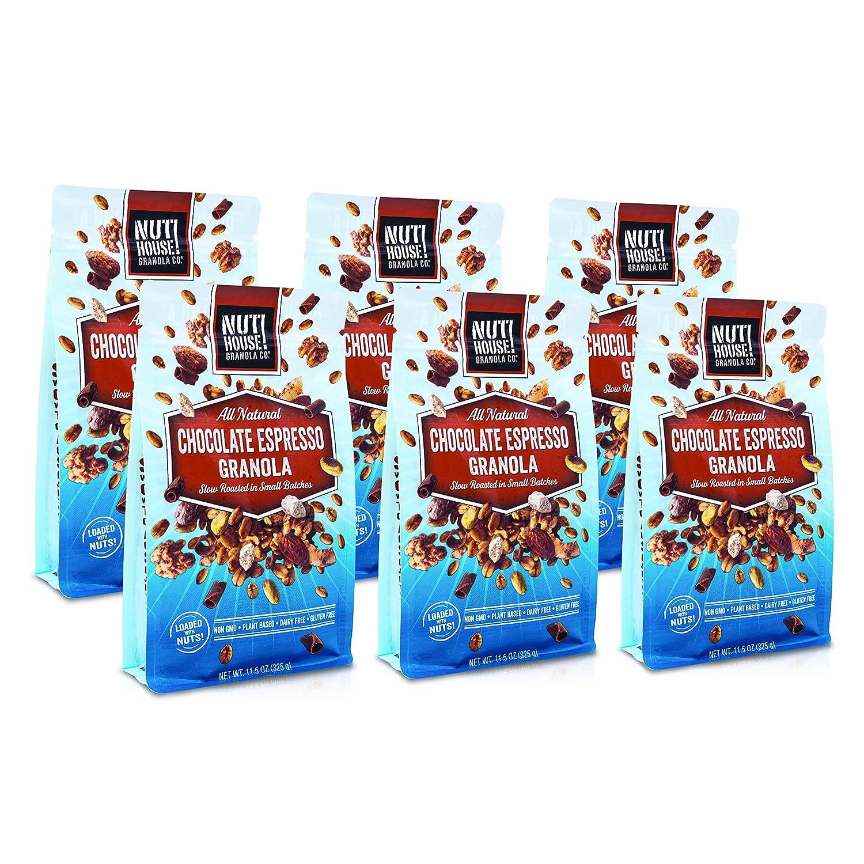 NutHouse! Granola Company - Premium Chocolate Espresso Granola   Certified Gluten-Free, Non-GMO, Kosher   Vegan   11.5 oz. Bag (6-Pack)