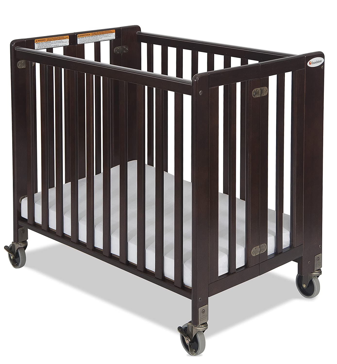 amazoncom foundations hideaway full sized folding crib natural portable crib baby