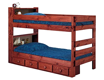 Amazon Com Ameriwood Bookcase Extra Long Twin Over Twin Bunk Bed