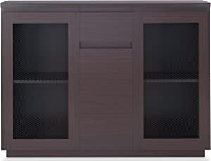 Furniture of America Widell Contemporary Wood Buffet Table with 2-Paneled Cabinet, Walnut