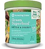 Amazing Grass Green Superfood, Detox & Digest, Powder, 30 Servings, 7.4oz, Cleanse, Detox, Spirulina, Alfalfa, Greens, L. Acidophilus, Chlorella Turmeric, Probiotic