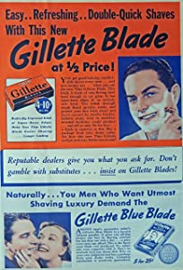 Gillette Blue Blades, 30's Print ad. Full Page Color Illustration (man shaving) Original Vintage Liberty Magazine Print Art