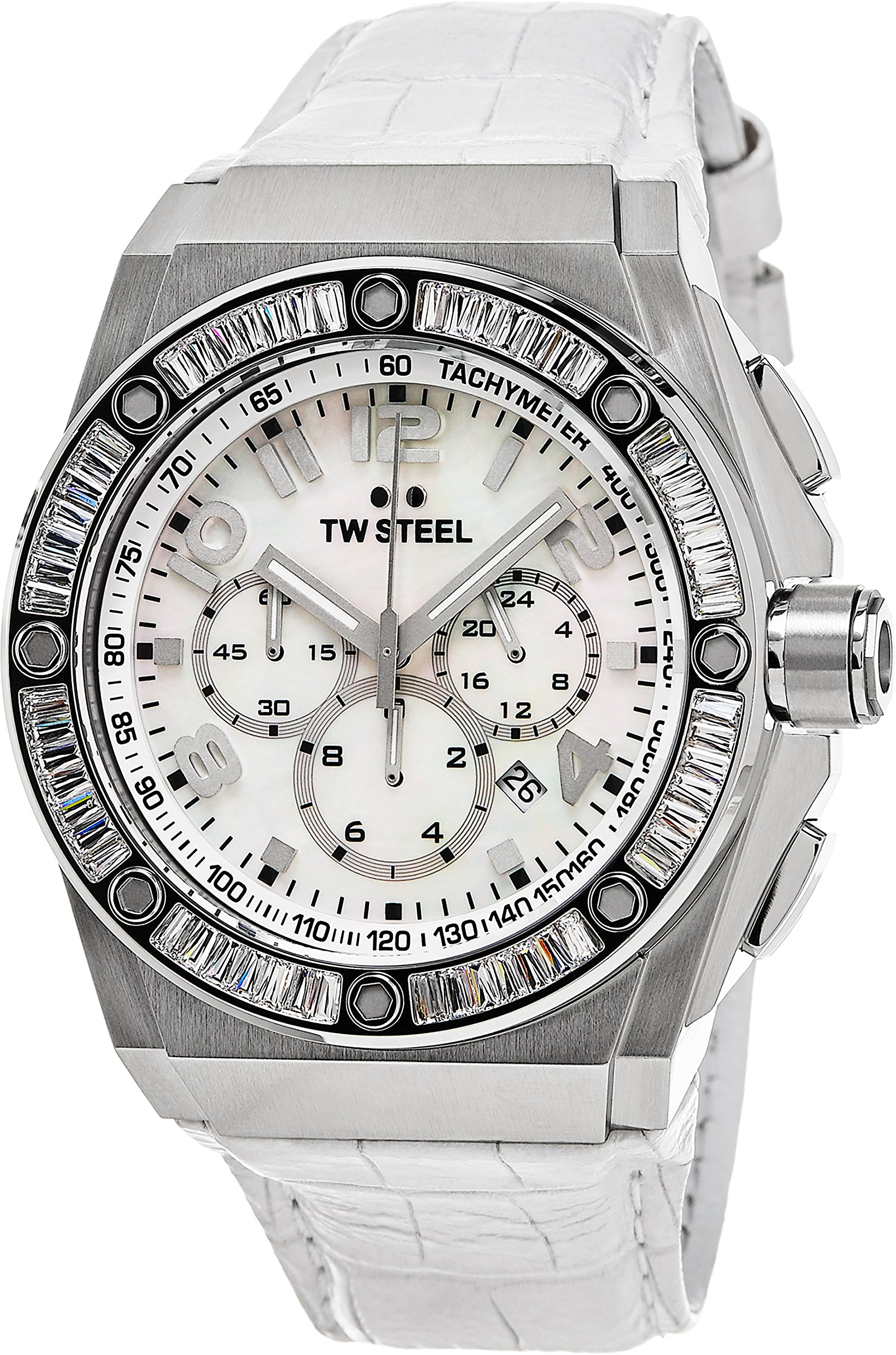 TW Steel CEO Tech Swarovski Crystal Stainless Steel Watch - Mother-of-Pearl Dial Date 24-hour TW Steel Watch Womens - White Leather Band 44mm Chronograph Watch CE4015 by TW Steel