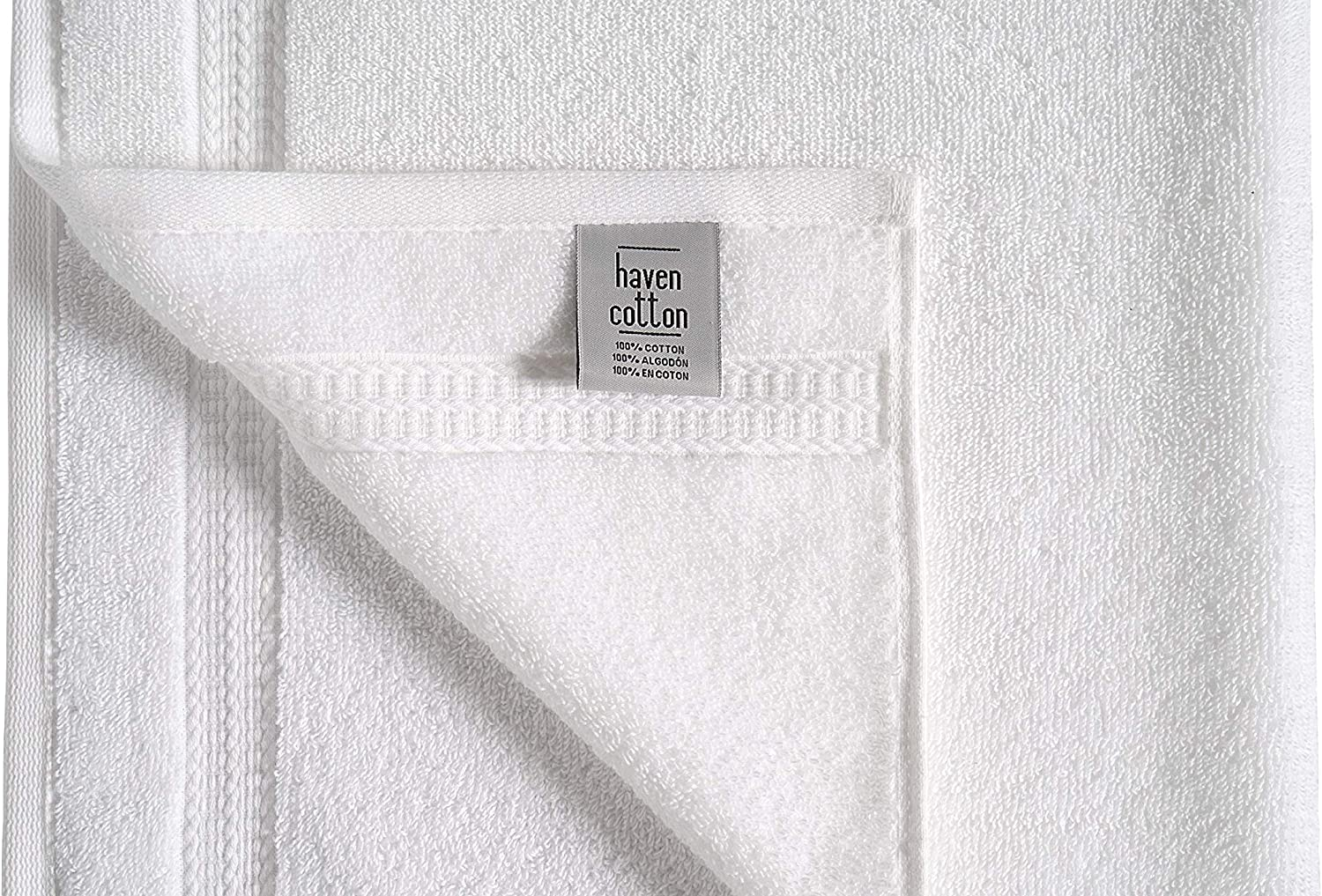 Pack of 12 White 16 x 28 Inches 580 GSM Haven Cotton Cotton Hand Towel Set