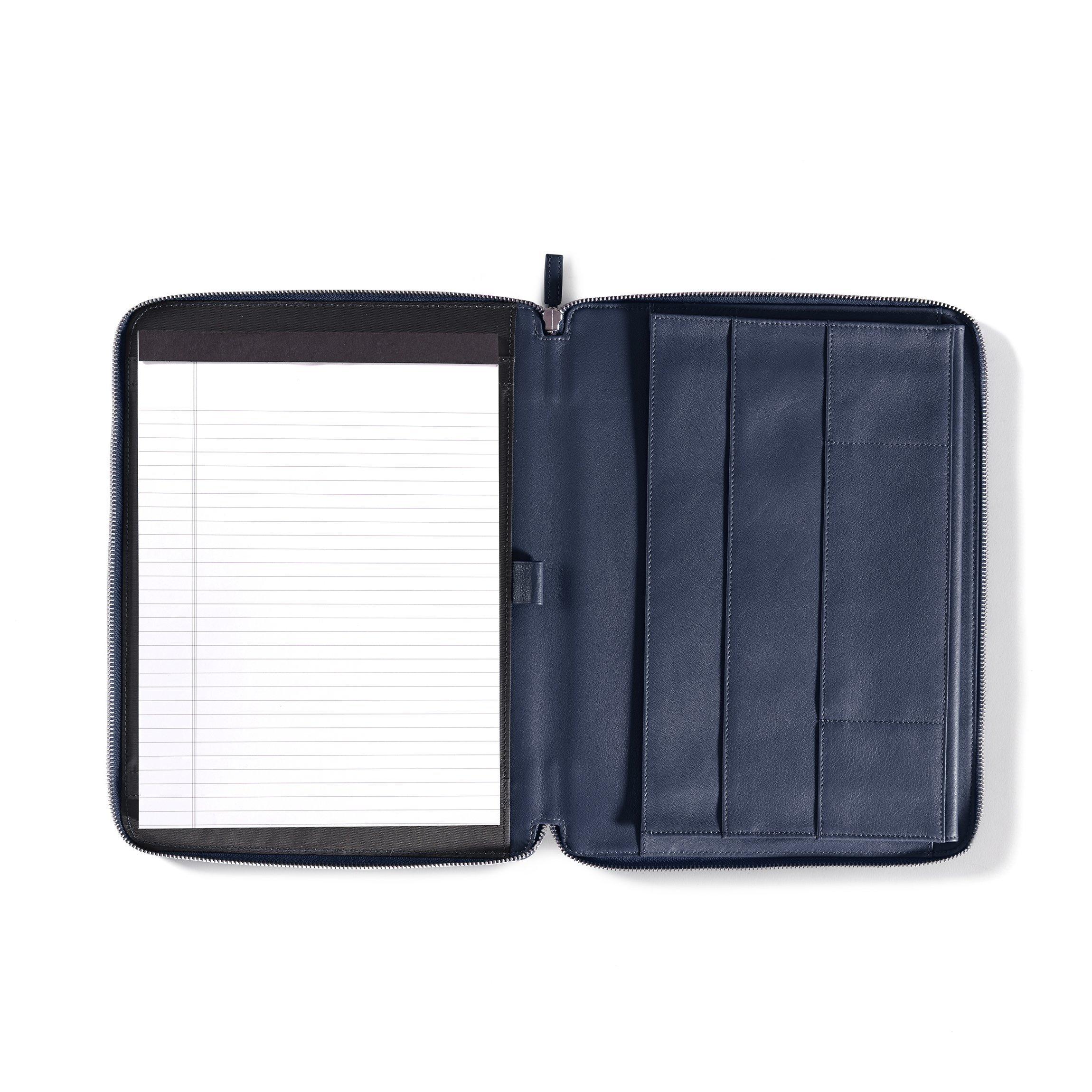Left Handed Executive Zippered Portfolio - Full Grain Leather Leather - Navy (blue)