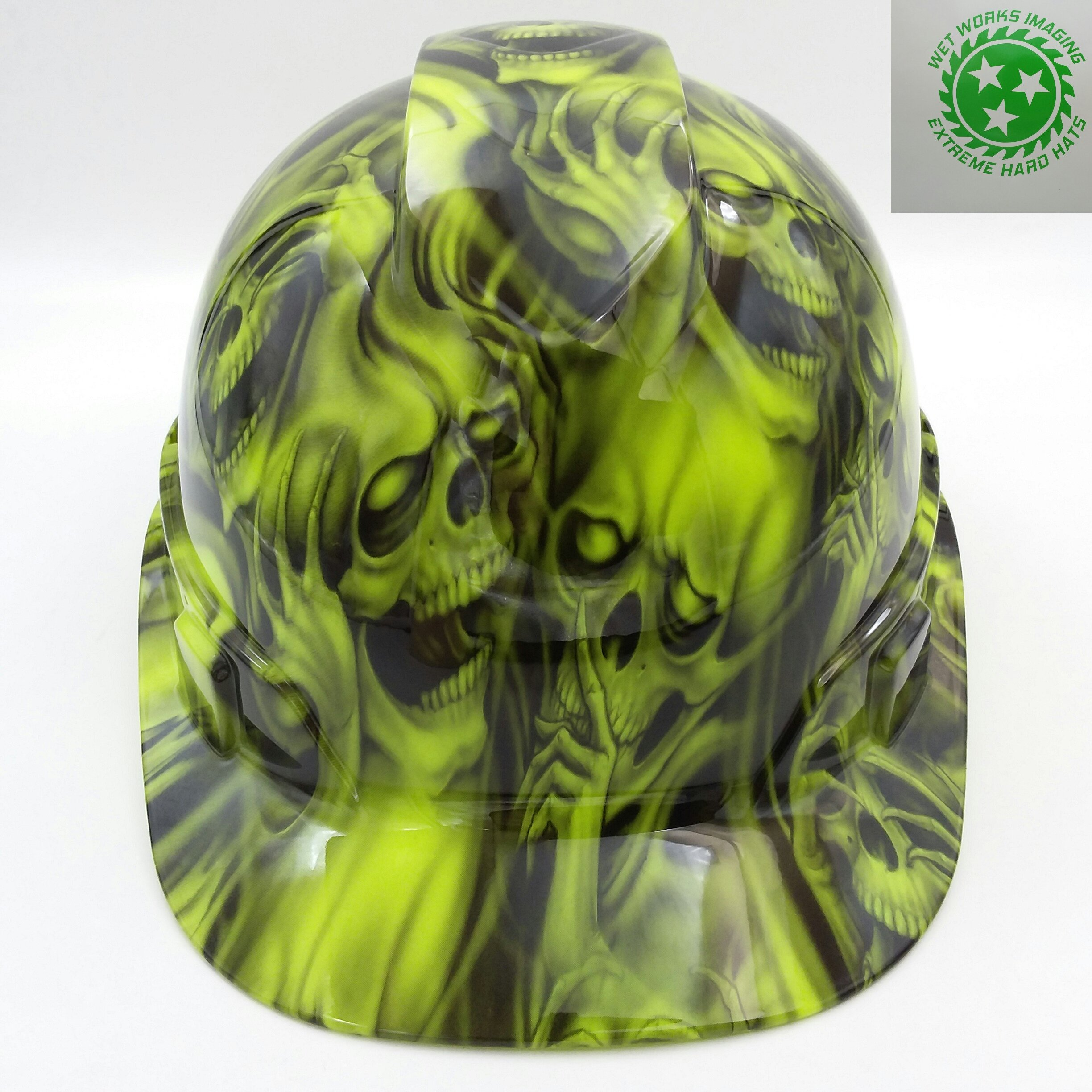 Wet Works Imaging Customized Pyramex Cap Style Green See No Evil Skulls Hard Hat With Ratcheting Suspension by Wet Works Imaging