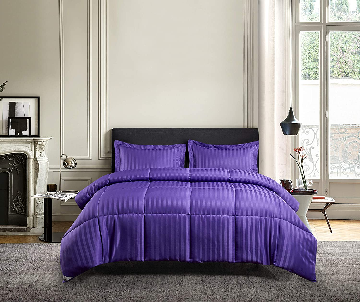 Blue Ridge Home Fashions DA-C3-KI Microfiber Damask Stripe Solid 3 Pieces Reversible Down Alternative Comforter Set - All Season Warmth, King, Purple