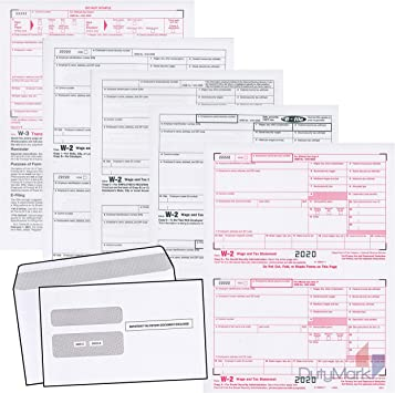 W2 Forms 2020 Set Of 50 With Self Seal Envelopes 4 Part Tax Forms, Laser And