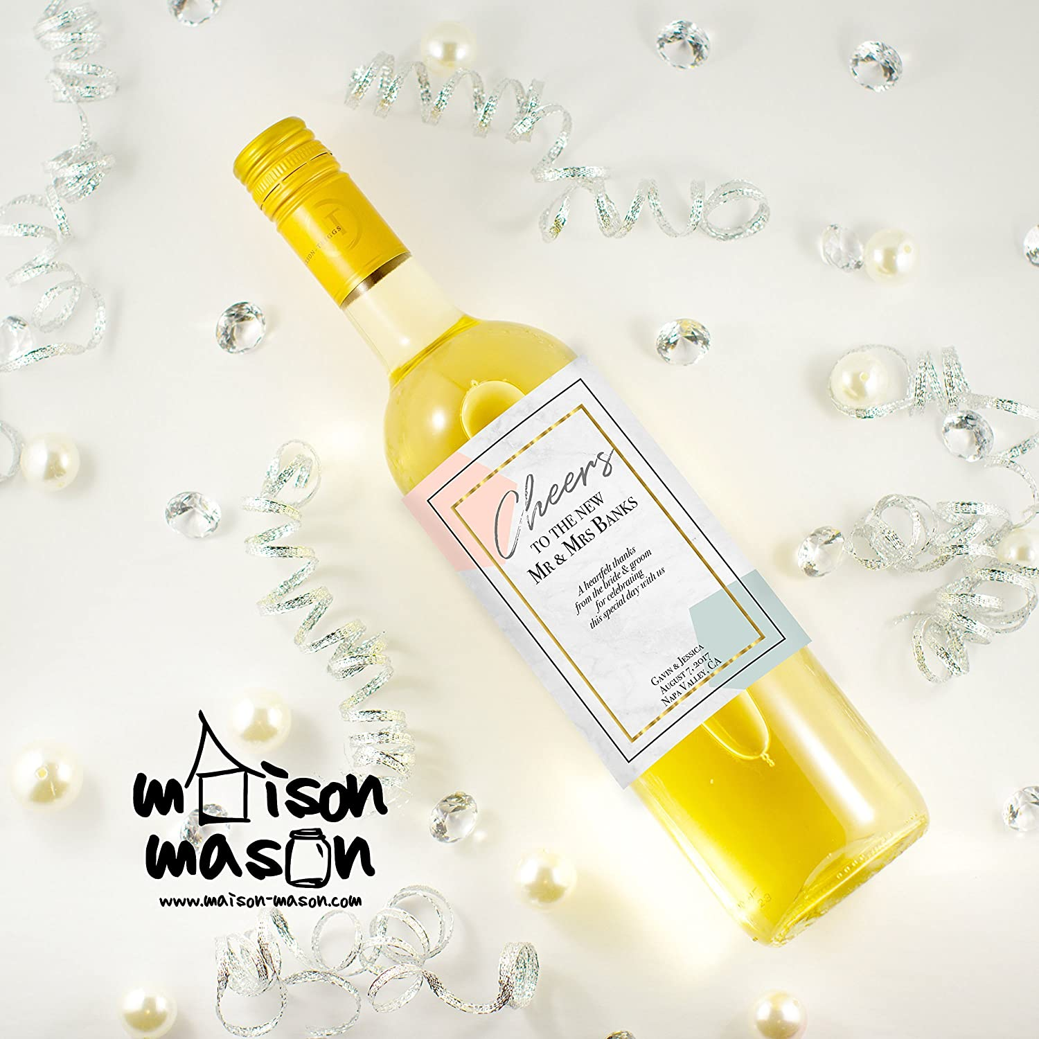 e7b22a64a3c5 Amazon.com: CUSTOM Cheers to the New Mr and Mrs, Wedding Wine Labels ...