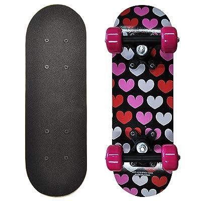 Rude Boyz 17 Inch Mini Wooden Cruiser Graphic Beginner Skateboard (Hearts Design) : Sports & Outdoors