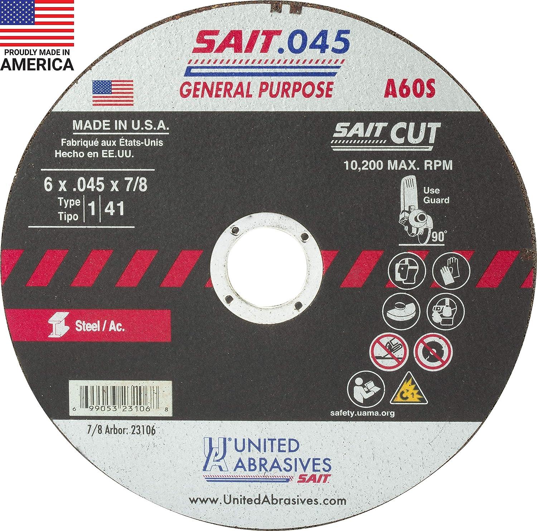 "40 Pro 6-in x .045/"" x 7//8/"" H/&M ABRASIVES Cut-off Wheel Cutting Disc Type 1"