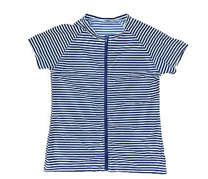 b31f3d83bd8 SwimZip Women s Plus Size Short Sleeve Rash Guard Zip Swim Shirt UPF 50+ at Amazon  Women s Clothing store