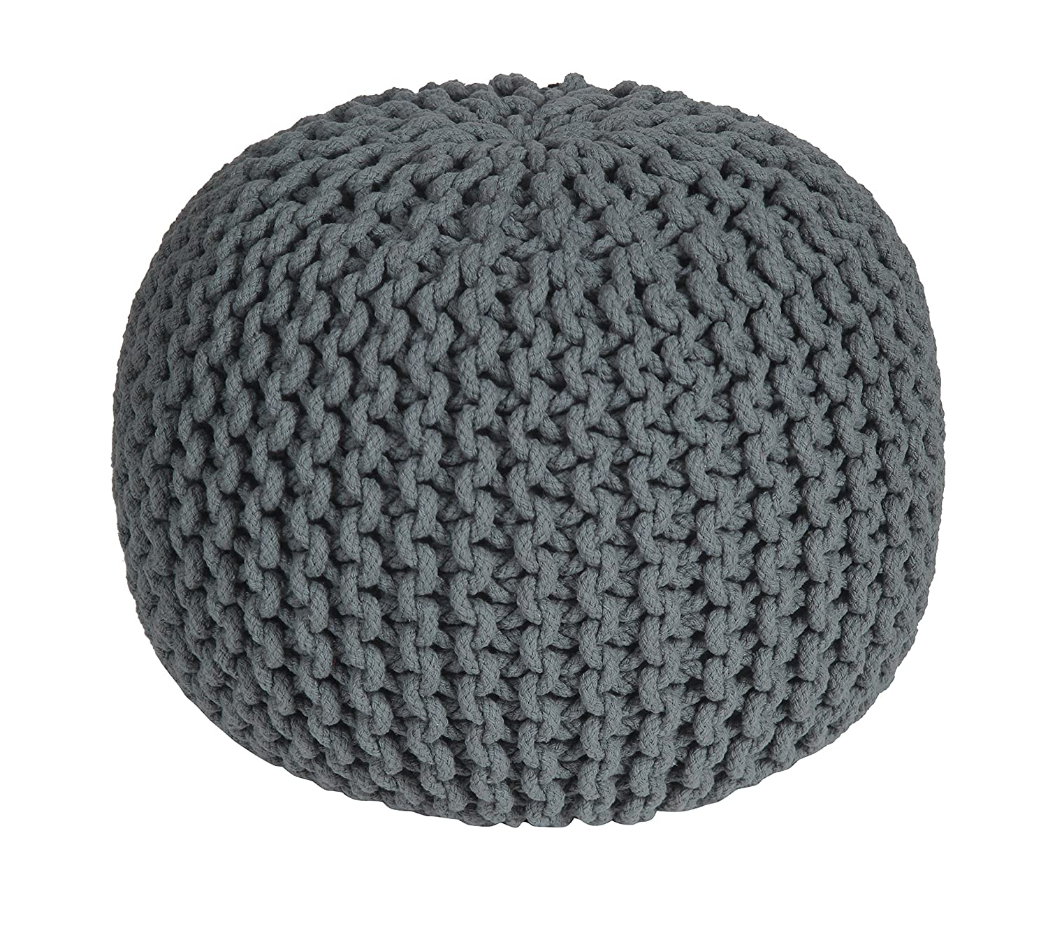 Square handcrafted moroccan leather pouf dark tan pouf pouffe ottoman - Homescapes Grey Knitted Pouffe Footstool Bean Filled 100 Cotton For Living Room Children Or The Elderly