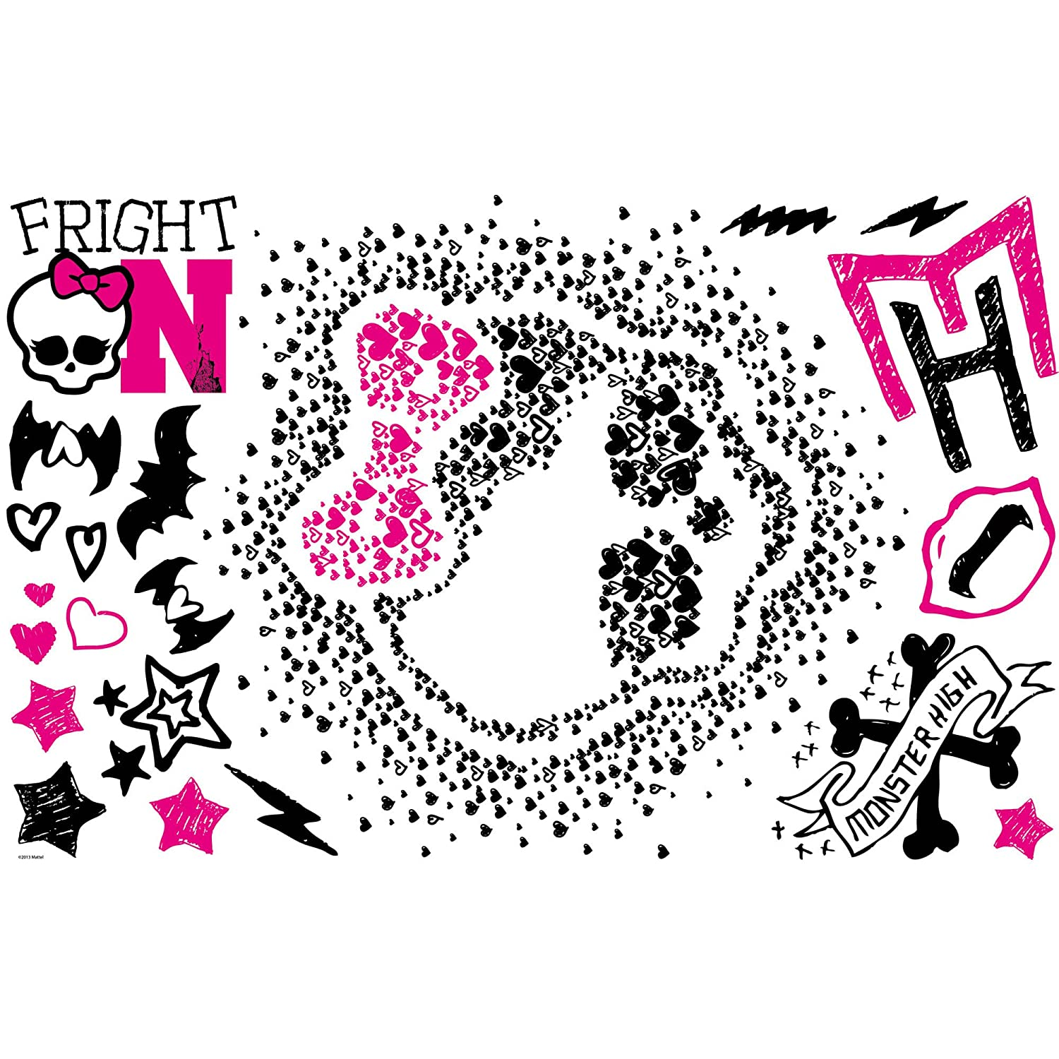 Roommates Rmk2258Slm Monster High Heart Skullette Peel And Stick Wall  Decals   Decorative Wall Appliques   Amazon com. Roommates Rmk2258Slm Monster High Heart Skullette Peel And Stick