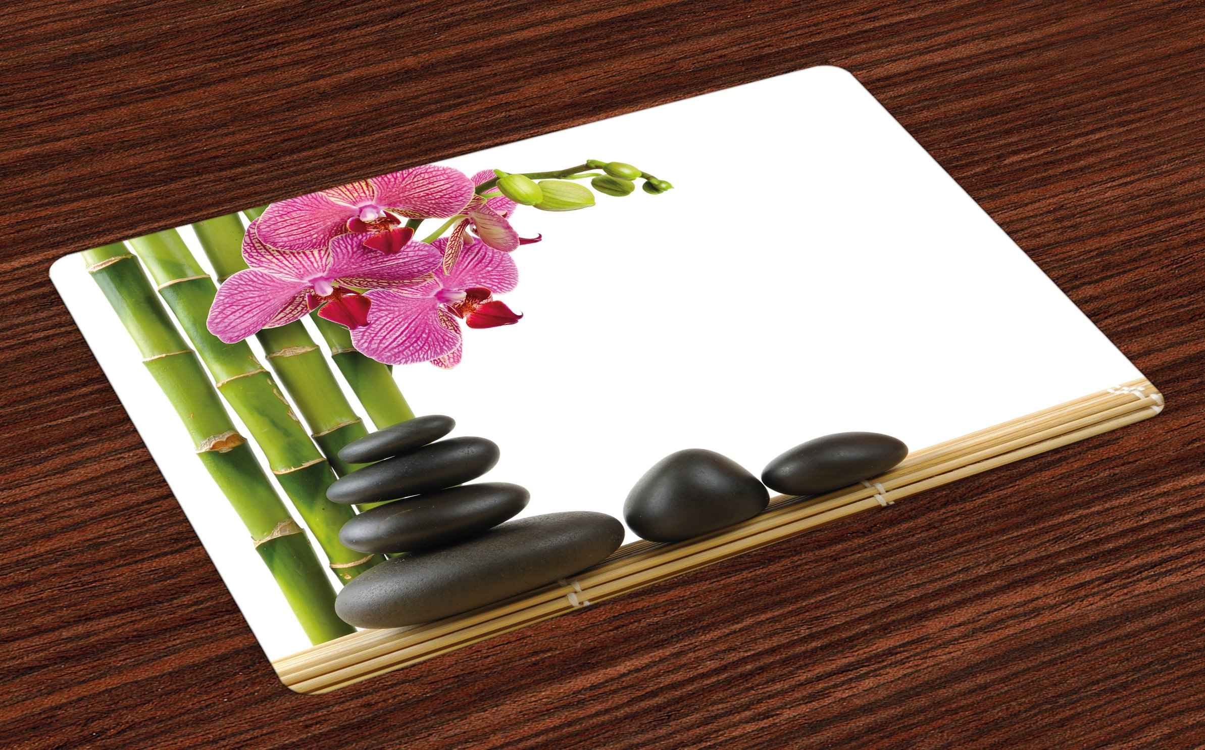 Ambesonne Spa Place Mats Set of 4, Beautiful Pink Orchid with Bamboos and Black Hot Stone Massage Image Print, Washable Fabric Placemats for Dining Room Kitchen Table Decor, Pink Green and Black