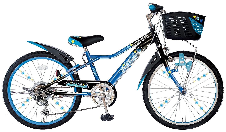 HEAD(ヘッド) キッズバイク Petit Corazon [プチコラソン] [オリジナルサドル/スポークアクセサリー付き/LEDライト搭載/6SPEEDS] B06XQZ9J36 24インチ|ブラック×ブルー ブラック×ブルー 24インチ