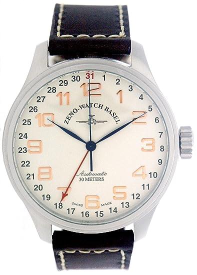 Zeno Watch Basel Pilot Oversized 8554Z-f2 - Reloj de caballero automático con correa de piel marrón: Amazon.es: Relojes