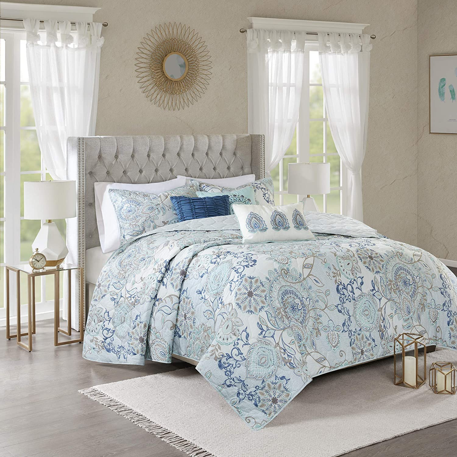Madison Park Isla Quilt Reversible 100% Cotton Percale Flower Medallion Printed Embroidered Soft Down Alternative Hypoallergenic All Season Coverlet Bedding-Set, Full/Queen(90
