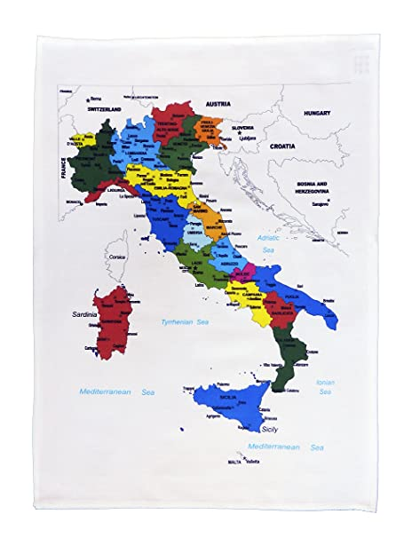 Map Of Uk Showing Regions.Half A Donkey Colourful Map Of Italy Showing The Regions And Major Cities Large Cotton Tea Towel