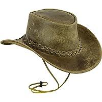 Leatherick Sombrero de Cuero para Hombre, Estilo Vaquero, Caballo Loco Real con Correa para la Barbilla