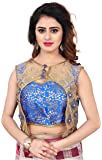 Shreeji Designer Women's Jacquard Silk & Soft Net Fashion Neck With Shrug Pearl and Embroidery Work Free Size Ready Made Blouse DKF_117_1