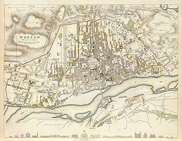 Historical Wall Map Warsaw Poland Warszawa Polska Map Reprint - Historical wall maps