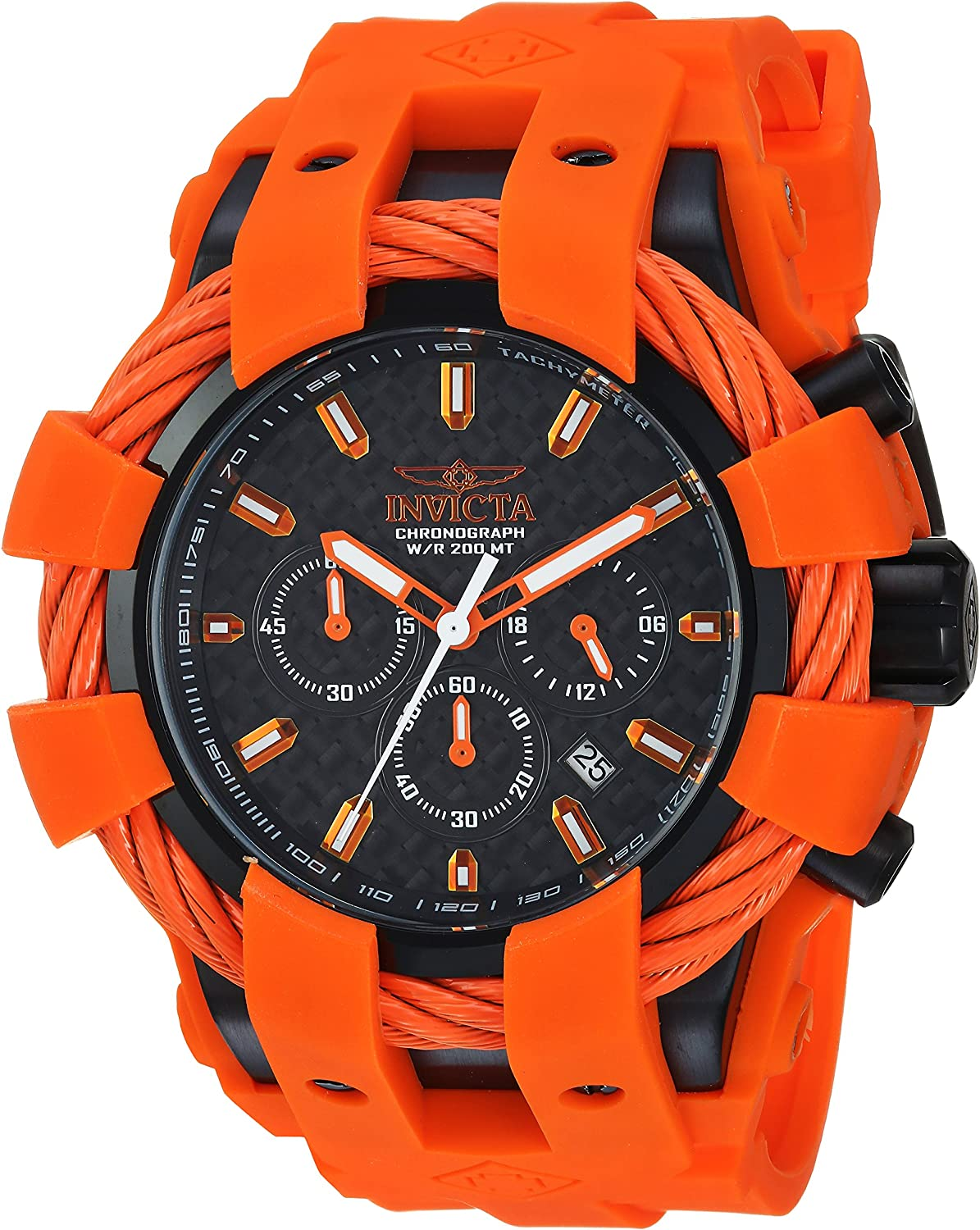 Invicta Men s Bolt Stainless Steel Quartz Watch with Silicone Strap, Orange, 30 Model 23872