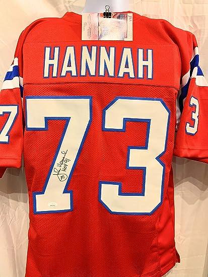 John Hannah New England Patriots Signed Autograph Custom Red Jersey HOF  Inscribed JSA Witnessed Certified dd016ec75