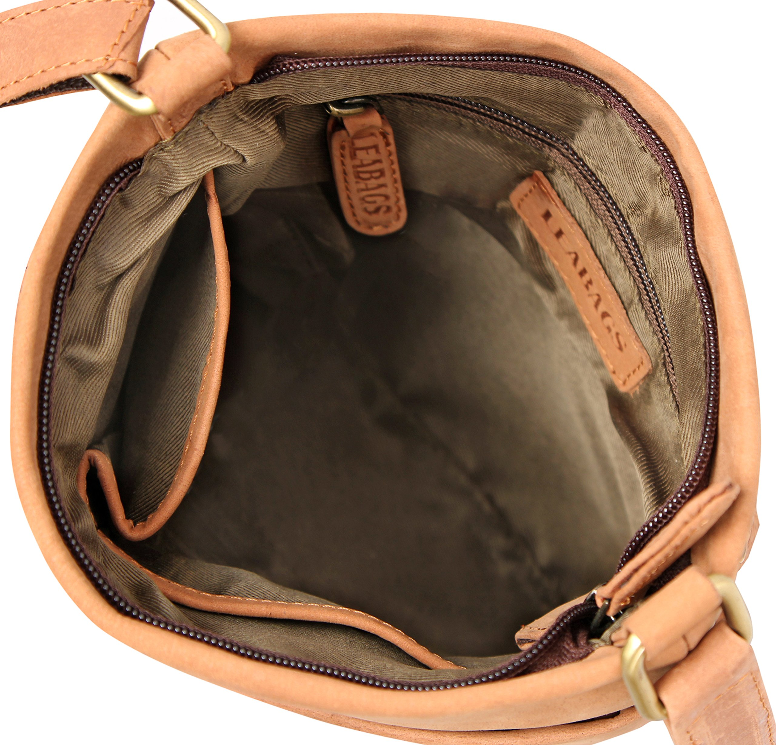 LEABAGS Seattle genuine buffalo leather crossbody bag in vintage style - Brown by LEABAGS (Image #9)